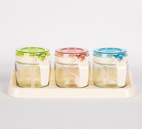 清清美(9219)圆形玻璃三组调味盒