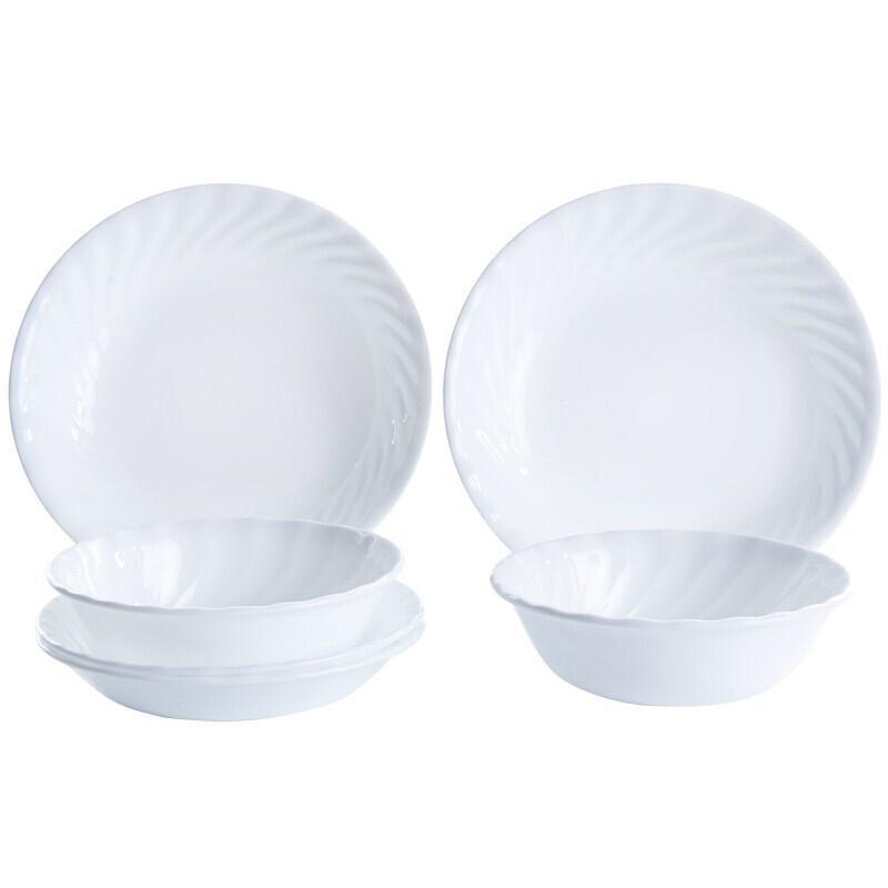 美国康宁CORELLE餐具耐热玻璃碗碟纯白6件组